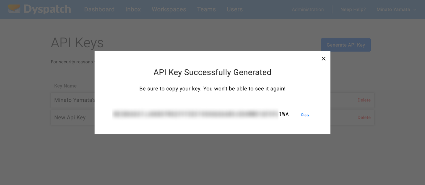 Copy your API key and save it somewhere secure!