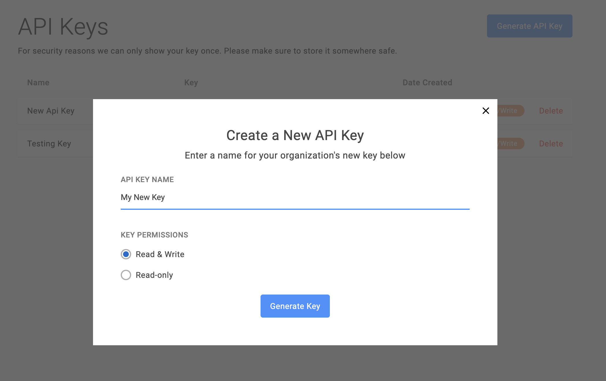 Click Generate API Key to create an API Key