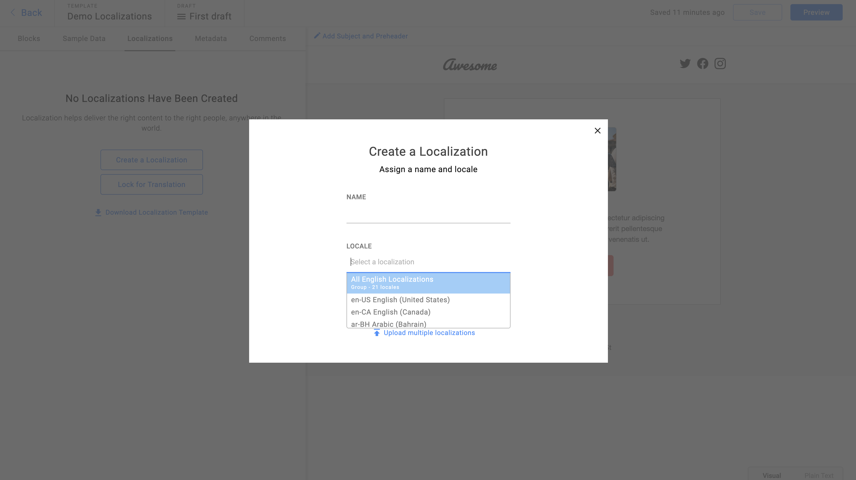 Adding a locale group to a template via a localization